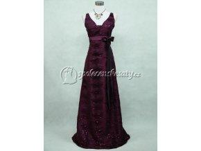 Fialové společenské šaty se širokými ramínky