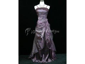 Fialové společenské šaty samá ružička