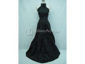Černé dlouhé společenské šaty za krk