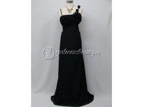 Černé společenské šaty pro těhotné kytičkové ramínko