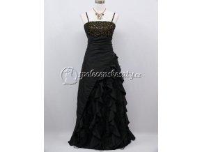 Černé společenské šaty s volány a flitry