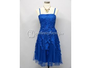 Modré krátké společenské šaty koktejlky s krajkou
