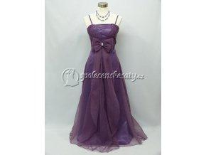 Fialové společenské šaty s dlouhou mašlí