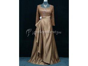 Hnědé zlaté společenské šaty s rukávem