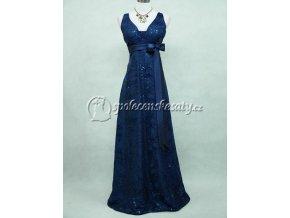 Modré dlouhé epolečensé šaty širší ramínka krajka