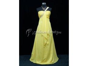 Žluté dlouhé společenské šaty se závojem