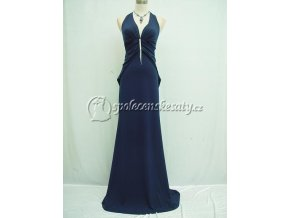 Modré dlouhé společenské šaty hladké