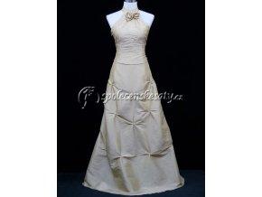 Krémové champagne svtební šaty za krk