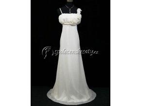 Krémové dlouhé společenské svatební šaty s provazem pod prsy pro těhotné