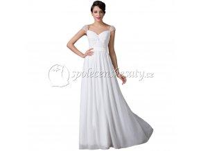 Bílé svatební šaty jednoduché na širší ramínka L003 4