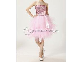 růžové luxusní krátké polečenské šaty