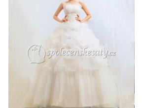 Luxusní bílé svatební šaty s volány L001