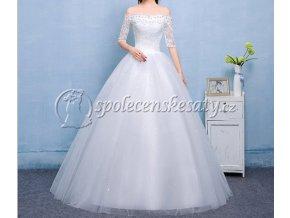 Bílé luxusní svatební šaty s rukávky