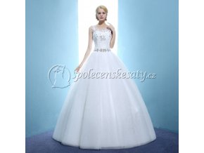 Bílé luxusní svatební šaty se štrasem 1