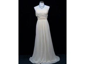 Krémové béžové společenské šaty splývavé 1
