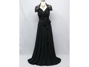 Černé společenské šaty s krajkou zavinovací 1