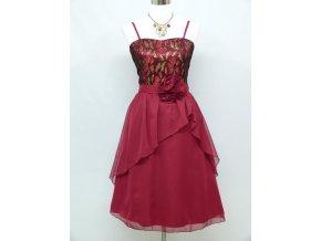 Červené krátké společenské šaty po kolena s kytkou 1