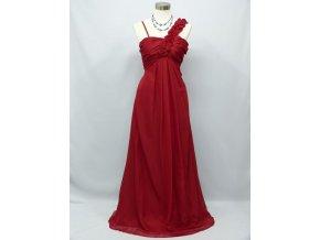 Červené dlouhé společenské šaty květinové ramínko pro těhotné 1