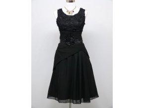 Černé koktejlky krátké společenské šaty s kytku v pase 1