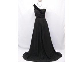 Černé dlouhé společenské šaty na jedno kvtinové ramínko řasené 1