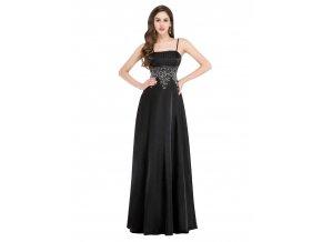 Černé společenské šat s tříbrnou krajkou na ples