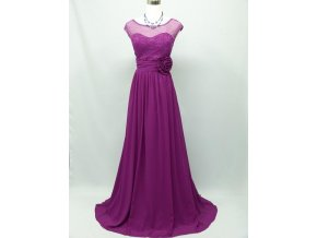 Fialové růžové společenské šaty s průhledným topem 1