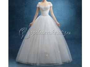 Bílé luxusní svatební šaty s kopretinami a spadlými rukávy