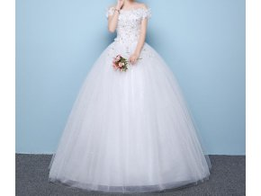 Bílé luxusní svatební šaty s kopretinami a ramínky