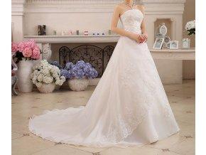 Bílé luxusní svatební šaty zavinovací s vlečkou 2
