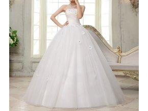 Bílé luxusní svatební šaty s kopetinami v pase 2