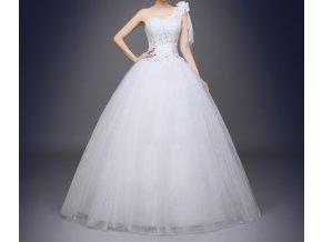Bílé luxusní svatební šaty s jedním ramínkem a závojem