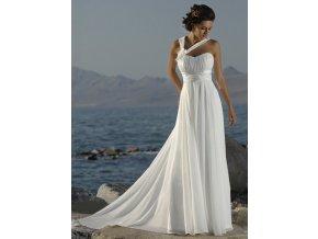 Bílé dlouhé luxusní satební šaty antické pro těhotné