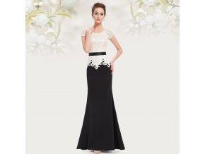 Černobílé dlouhé luxusní šaty alá mořská panna s krajkou