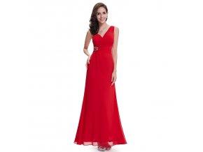 Červené dlouhé společenské šaty na jedno rameno