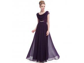 Fialové dlouhé společenké šaty se závojem na ples