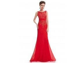 Červené dlouhé plesové krajkové šaty 2