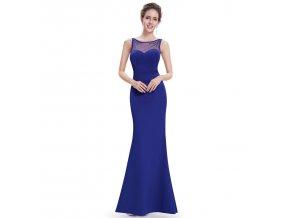 Modré dlouhé plesové šaty elastické na ples