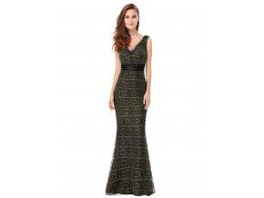 Černé dlouhé plesové šaty se zlatou krajkou 3