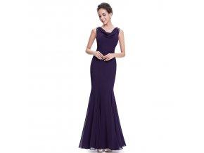 Fialové dlouhé společenské šaty s vodou mořská panna