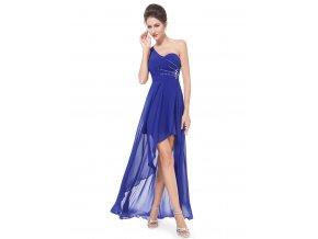 Modré společenské šaty mini na jedno rameno s vlečkou 2