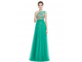 Zelené dlouhé společenské šaty se zlatou krajkou 2