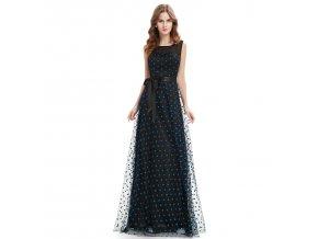 Černé dlouhé společenské šaty s modrými puntíky