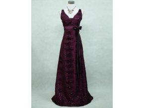 Fialové dlouhé společenské šaty na hrubá ramínka s krajkou