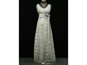 Šedé stříbrné společenské šaty na hrubší ramínka s krajkou