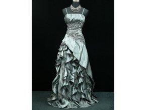 Šedé stříbrné společenské šaty na ples s volánovou sukní zeštíhlující pro plnoštíhlé
