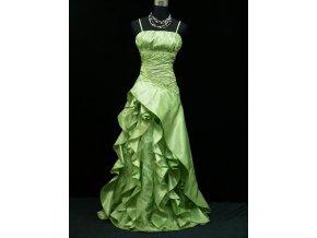 Zelené dlouhé plesové šaty s volány těhotenské pro plnoštíhlé