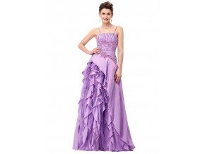 Fialové lila společenské šaty s volány pro plnoštíhlé 11