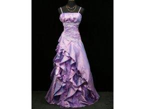 Fialové lila společenské šaty s volány pro plnoštíhlé