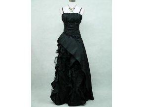 Černé dlouhé levné společenské šaty s volány pro plnoštíhlé