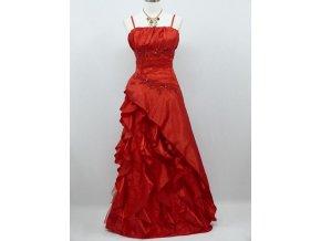 Červené společenské šaty s volány na ples svatbu pro plnoštíhlé